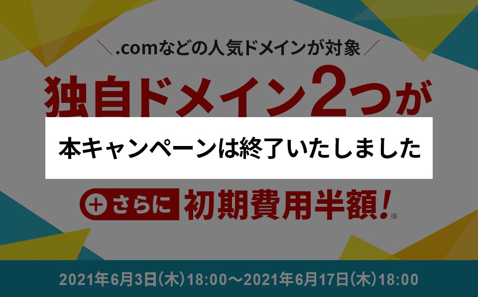 ドメイン永久無料&初期費用半額キャンペーン!